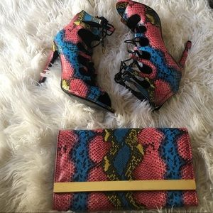 Multi color snake print heels and matching clutch